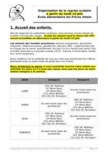 thumbnail of Organisation reprise scolaire à partir du 15 juin